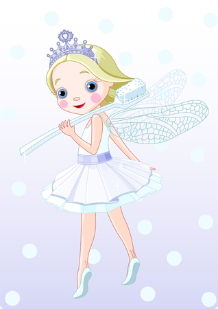 Cute smiling  toothfairy with toothbrush.