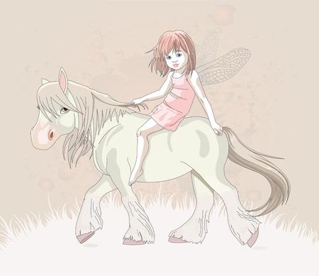 Cute little fairy riding on a horse Vector