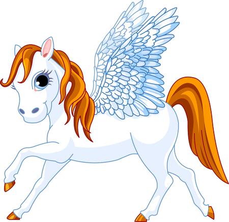 Cute gevleugelde paard uit de Griekse mythologie Stock Illustratie