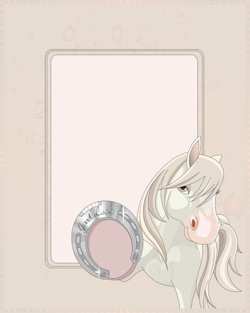 A horse showing a lucky horseshoe design with place for your copytext.