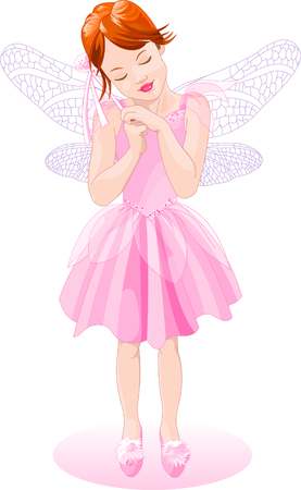 Vector Illustration of a pretty pink fairy. The wings are on separate layers. The girl is just as cute with or without them Çizim
