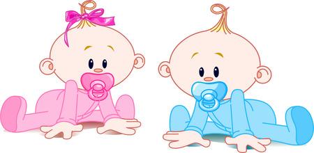 pacifier: Dos adorables bebés - la chica con arco y el muchacho.