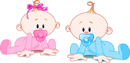 Two adorable babies -  the girl with bow and the boy. Vector