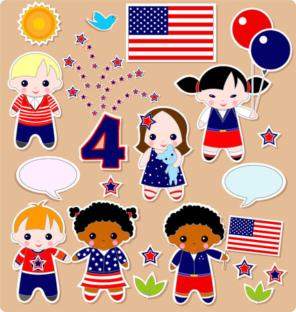Fourth of July. Set of children. All images are separated Stock Vector - 4721401