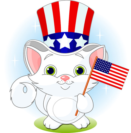 White kitten holding American flag. Fourth of July illustration