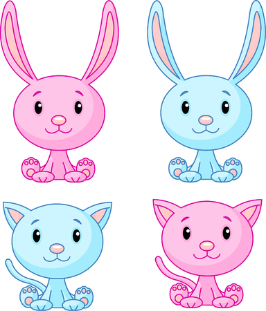Cute cats and bunnies set. Vector illustration Vector
