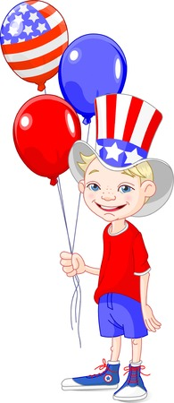 Funny boy holding American flag colored balloons Stock Vector - 4750921