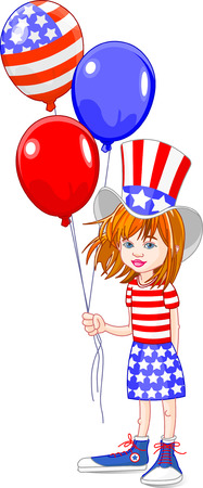 Cute girl holding American flag colored balloons Stock Vector - 4750922