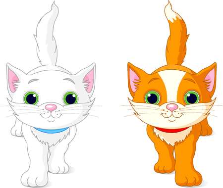 Two cute kittens, white and red, walking Ilustrace