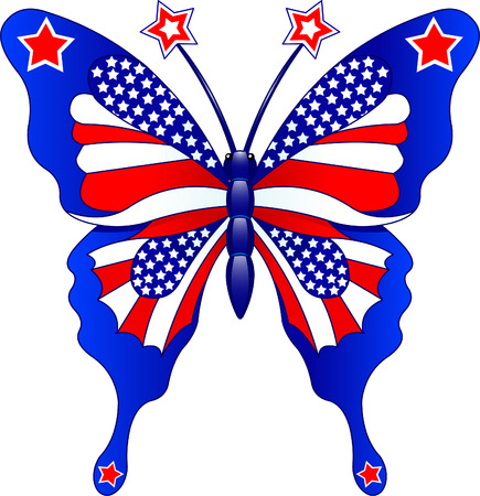 Beautiful butterfly in different colors representing USA 版權商用圖片 - 4750923