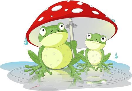 Two frogs wearing rain gear under  mushroom Vector