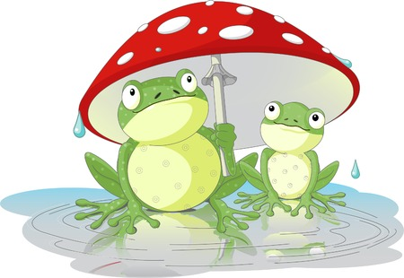 vector images: Two frogs wearing rain gear under  mushroom Illustration