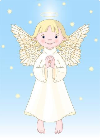 Cute Bidden Angel in Wit Gown. Alle niveaus worden gescheiden.