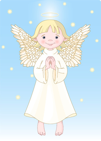 Cute Praying Angel in White Gown. All levels are separate. Vector
