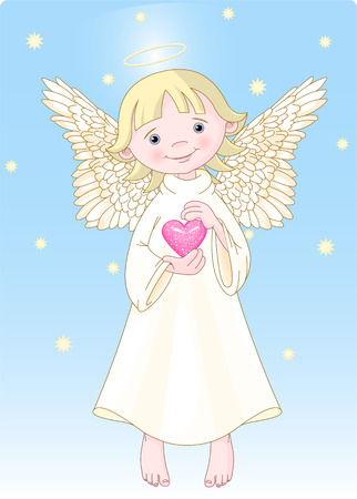 Cute Angel with a heart in hands. All levels are separate. Vector