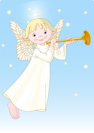 Cute Angel with a horn. All levels are separate. Vector