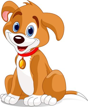 Vector illustratie van een schattige dog.Wearing een rode kraag met een hond tag. Stock Illustratie