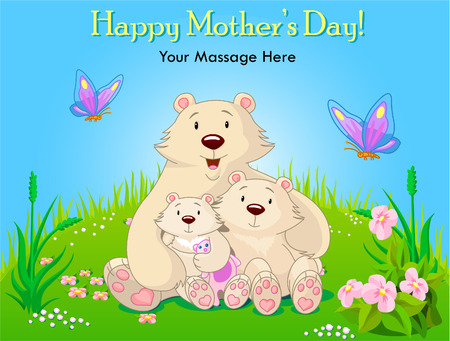 mama: Mother bear sits on a meadow with the cubs.