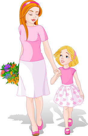 cartoon bouquet: Mother walking with Daughter. Mother's Day illustration