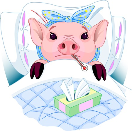 infect: Cartoon illustration of a pig having the flu