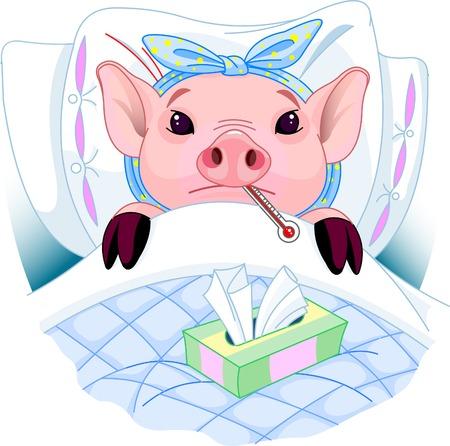 Cartoon illustration of a pig having the flu