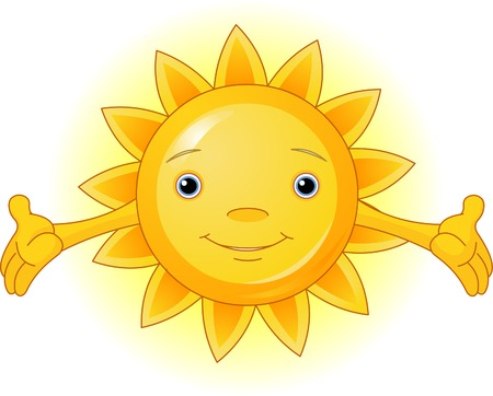 bright sun: Cartoon Character of Cute Summer Sun Illustration