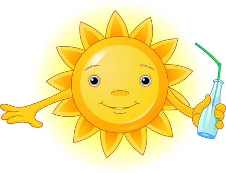 Cartoon Character of Cute Summer Sun with bottle of water Vector