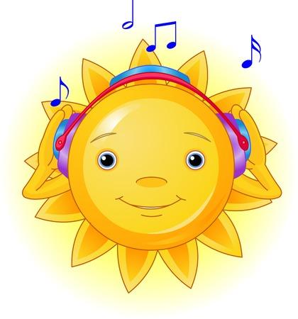 Cartoon Character of Cute Summer Sun listening to music Vector