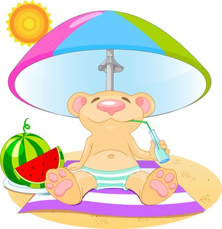 Vector illustration of bear drinking water on summer day  Illustration