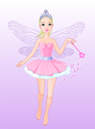 fantasy: Vector illustration of a Fairy in Flight holding a magical wand