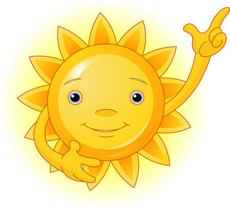 cartoon: Cute smiling sun pointing to the top.    Illustration