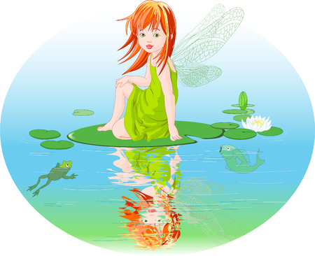 Little cute fairy elf sitting on Water lily leaf.
