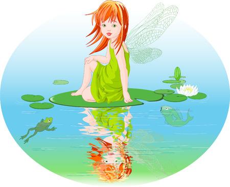 hadas caricatura: Poco lindo hada elfo sentado en la hoja de lirio de agua.