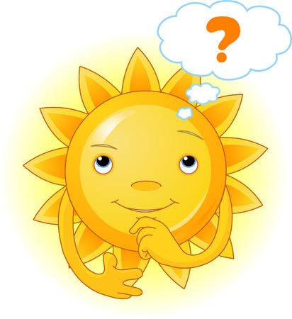かわいい夏の太陽の思考の漫画のキャラクター  イラスト・ベクター素材