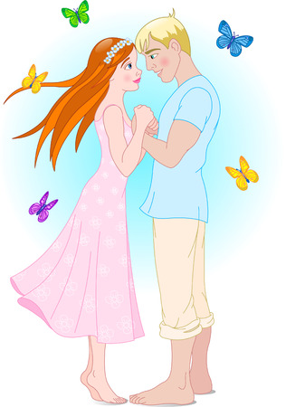 young girl: Couple and butterflies. Elements are separately grouped. Illustration