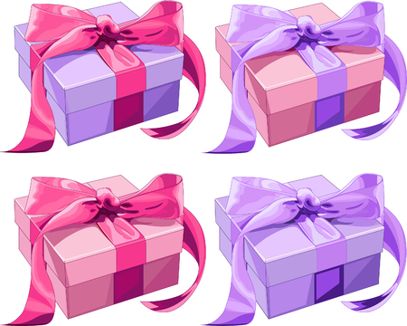 Four different color Gift boxes with  bow. Vector illustration Vector