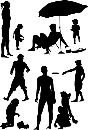 Silhouettes of the people at the beach