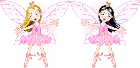 Two cute fairies ballerinas, blond and brunette, flying