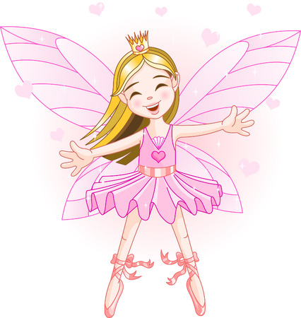 Cute pink fairy ballerina flying Vector