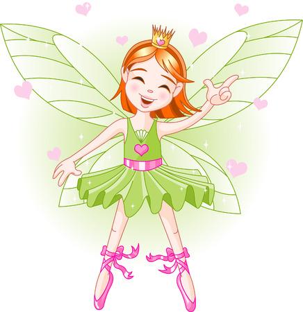 green elf: Cute green fairy ballerina flying Illustration