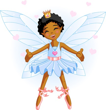Cute blue fairy ballerina flying Vector