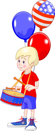 beating: Funny boy beating the drum. Vector illustration