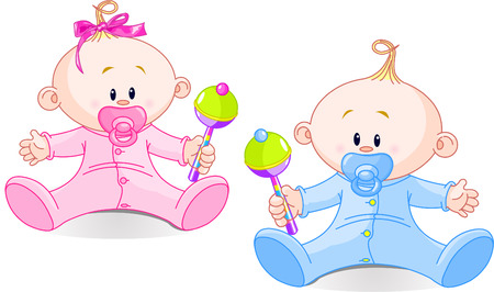 tvillingar: Twin Baby Boy And Girl  playing with rattles