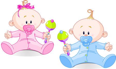 rammelaar: Twin Baby jongen en meisje speelt met ratels