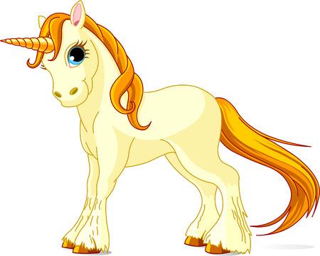 pony tail: Vector Illustration of standing beautiful cute unicorn