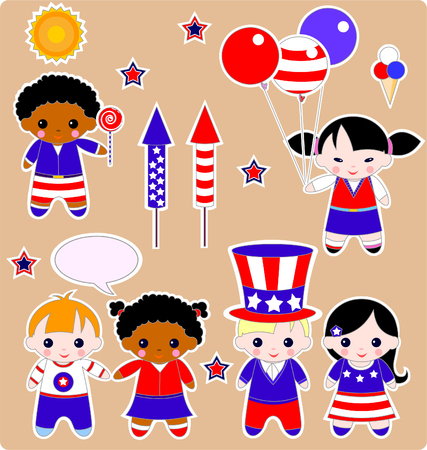 Fourth of July. Set of children. All images are separated Stock Vector - 4979888