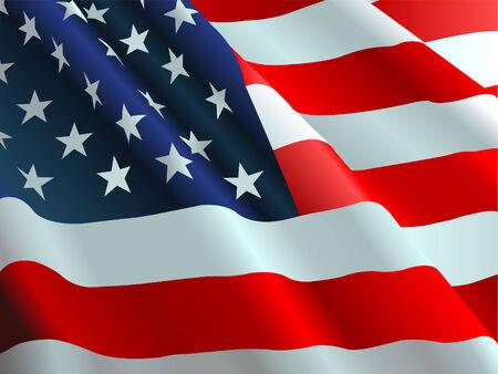 bandera americana: Una bandera norteamericana que fluye en el viento. Vectores