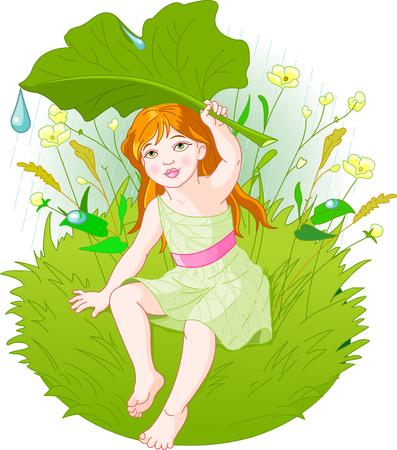 Cute little girl wearing rain gear, carrying  leaf. Vector Vector