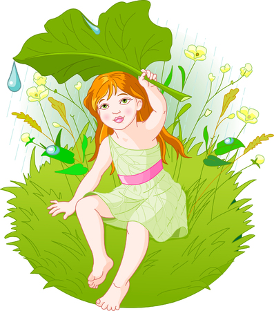 fall protection: Cute little girl wearing rain gear, carrying  leaf. Vector Illustration