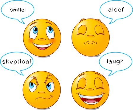 expresiones faciales: Conjunto de cuatro caras sonrientes en diferentes expresiones faciales, con burbujas de discurso